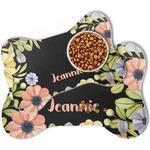 Boho Floral Bone Shaped Dog Food Mat (Personalized)