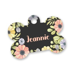 Boho Floral Bone Shaped Dog Tag (Personalized)