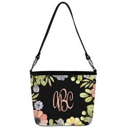 Boho Floral  Bucket Bag w/ Genuine Leather Trim (Personalized)