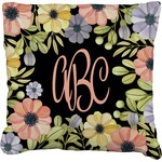 Boho Floral Faux-Linen Throw Pillow (Personalized)