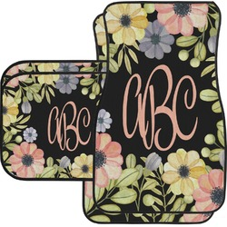 Boho Floral Car Floor Mats Set - 2 Front & 2 Back (Personalized)