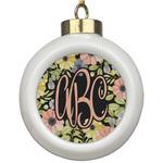 Boho Floral Ceramic Ball Ornament (Personalized)