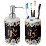 Boho Floral Ceramic Bathroom Accessories Set (Personalized)