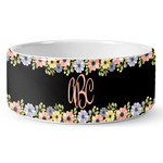 Boho Floral Ceramic Dog Bowl (Personalized)