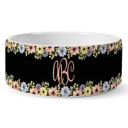 Boho Floral Ceramic Pet Bowl (Personalized)