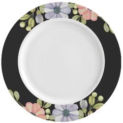Boho Floral Ceramic Dinner Plates (Set of 4) (Personalized)