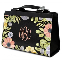 Boho Floral Classic Tote Purse w/ Leather Trim (Personalized)
