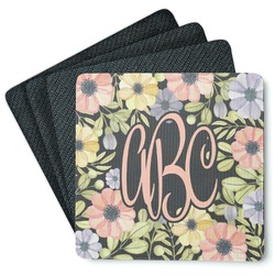 Boho Floral 4 Square Coasters - Rubber Backed (Personalized)