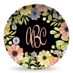 Boho Floral  Microwave Safe Plastic Plate - Composite Polymer (Personalized)