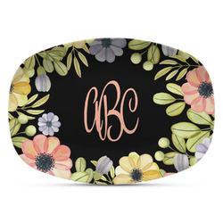 Boho Floral  Plastic Platter - Microwave & Oven Safe Composite Polymer (Personalized)