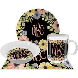 Boho Floral Dinner Set - Single 4 Pc Setting w/ Monograms