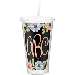 Boho Floral  Double Wall Tumbler with Straw (Personalized)