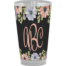 Boho Floral Drinking / Pint Glass (Personalized)