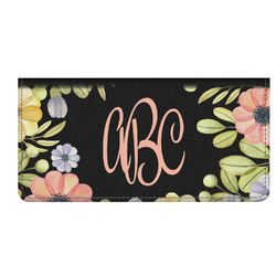 Boho Floral  Genuine Leather Checkbook Cover (Personalized)