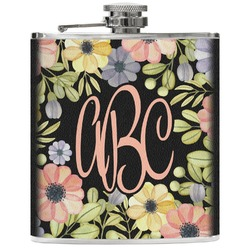 Boho Floral  Genuine Leather Flask (Personalized)