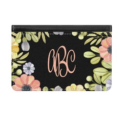 Boho Floral Genuine Leather ID & Card Wallet - Slim Style (Personalized)