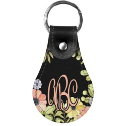 Boho Floral Genuine Leather  Keychain (Personalized)