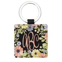 Boho Floral Genuine Leather Rectangular Keychain (Personalized)