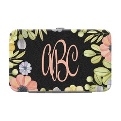 Boho Floral  Genuine Leather Small Framed Wallet (Personalized)