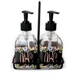 Boho Floral  Soap & Lotion Dispenser Set (Glass) (Personalized)