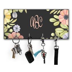 Boho Floral  Key Hanger w/ 4 Hooks (Personalized)