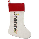 Boho Floral Red Linen Stocking (Personalized)