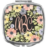 Boho Floral Compact Makeup Mirror (Personalized)