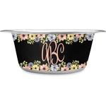 Boho Floral Stainless Steel Dog Bowl (Personalized)