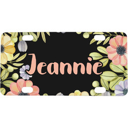 Boho Floral Mini / Bicycle License Plate (Personalized)