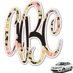 Boho Floral Monogram Car Decal (Personalized)