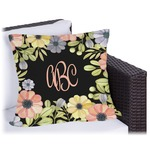 Boho Floral Outdoor Pillow (Personalized)