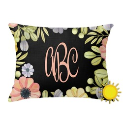 Boho Floral Outdoor Throw Pillow (Rectangular) (Personalized)