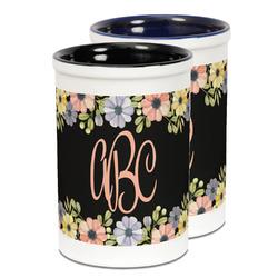 Boho Floral Ceramic Pencil Holder - Large