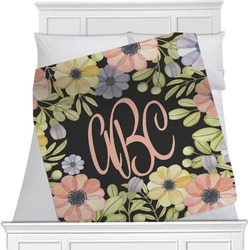 "Boho Floral Fleece Blanket - Twin / Full - 80""x60"" - Double Sided (Personalized)"