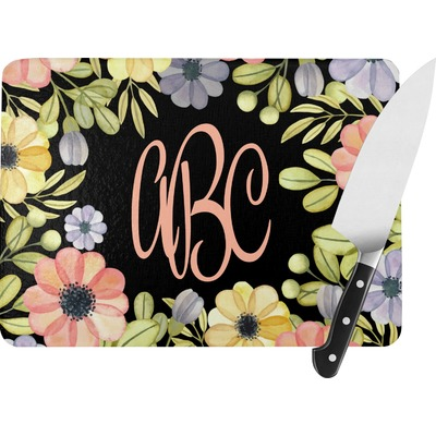 Boho Floral Rectangular Glass Cutting Board (Personalized)