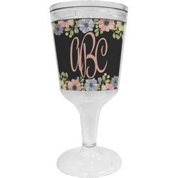 Boho Floral Wine Tumbler - 11 oz Plastic (Personalized)