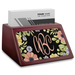 Boho Floral Red Mahogany Business Card Holder (Personalized)