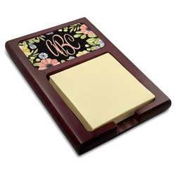 Boho Floral  Red Mahogany Sticky Note Holder (Personalized)