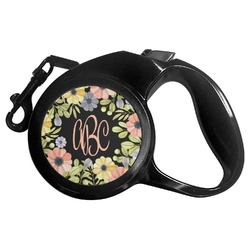 Boho Floral Retractable Dog Leash (Personalized)