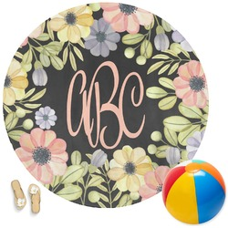 Boho Floral Round Beach Towel (Personalized)