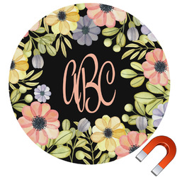 """Boho Floral Round Car Magnet - 6"""" (Personalized)"""