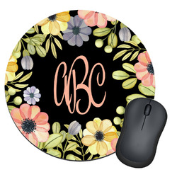 Boho Floral  Round Mouse Pad (Personalized)