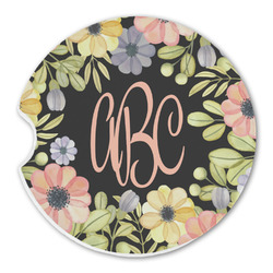 Boho Floral  Sandstone Car Coasters (Personalized)