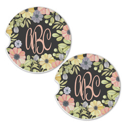 Boho Floral Sandstone Car Coasters - Set of 2 (Personalized)