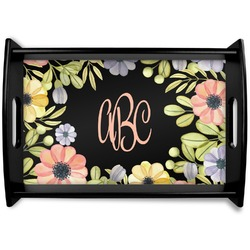Boho Floral  Black Wooden Tray (Personalized)