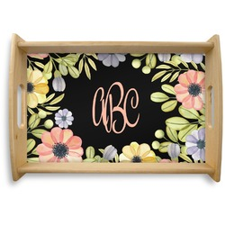 Boho Floral Natural Wooden Tray (Personalized)