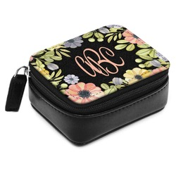 Boho Floral Small Leatherette Travel Pill Case (Personalized)