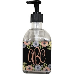 Boho Floral Soap/Lotion Dispenser (Glass) (Personalized)
