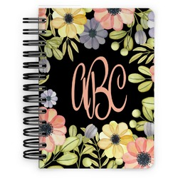 Boho Floral Spiral Bound Notebook - 5x7 (Personalized)