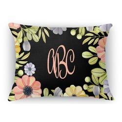 Boho Floral  Rectangular Throw Pillow Case (Personalized)